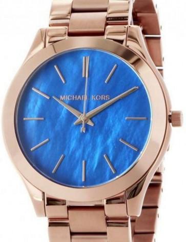 Michael Kors Thin Runway Womens Ladies Watch Rose Gold Stainless Steel Bracelet Blue Dial MK3494