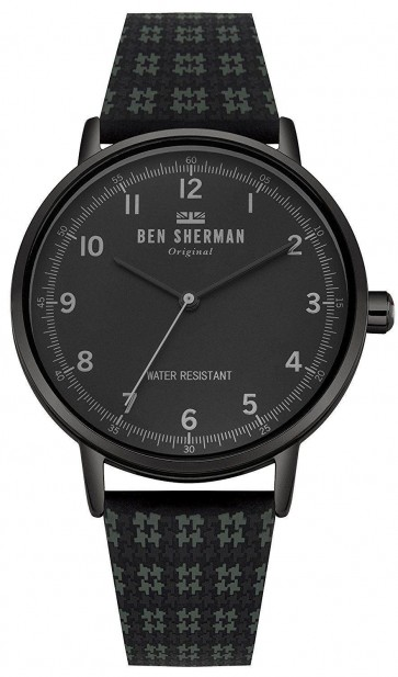 Ben Sherman Mens Portobello Dogtooth Watch Black Strap Black Dial WB075BUR