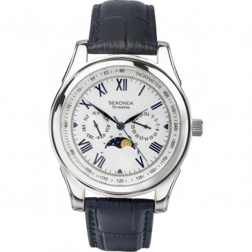 Sekonda Mens Gents Wrist Watch White Face Blue Leather Strap  3504