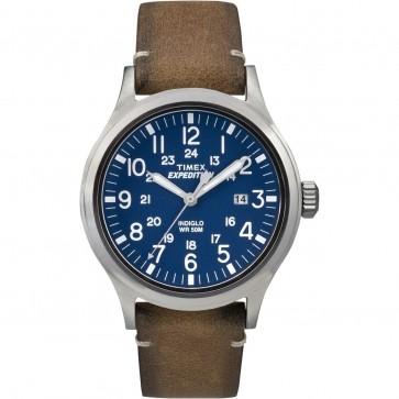 Timex Men's Gent's Quartz Watch With Blue Dial Brown Strap TW2P82000