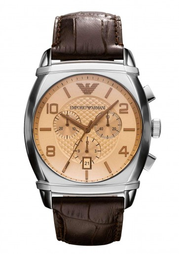 Emporio Armani Mens Chronograph Watch Brown Leather Strap Salmon Dial AR0348