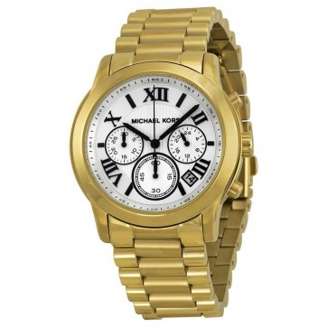 Michael Kors Cooper Chronograph Watch Gold Bracelet White Dial MK5916