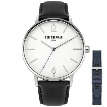Ben Sherman Mens Gents Wrist Watch Black Strap Set White Face WB059U