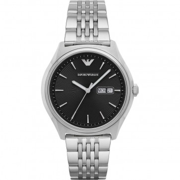 Emporio Armani Mens Gents Wrist Watch Silver Stainless Steel Strap Black Dial AR1977
