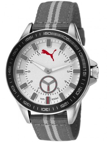 Puma Cyclone Men's Quartz Watch with Silver Dial Analogue Display and Grey Nylon Strap PU103631005