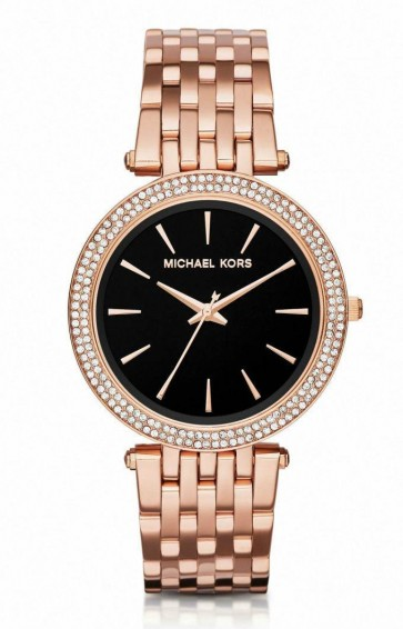 Michael Kors  Ladies Watch Darci Rose Gold Black Dial MK3402