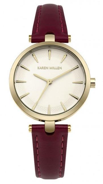 Karen Millen Womens Wrist Watch Burgundy Strap KM153VG