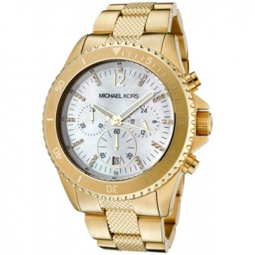 Michael Kors Ladies Chronograph Watch Gold Bracelet White Dial MK5437