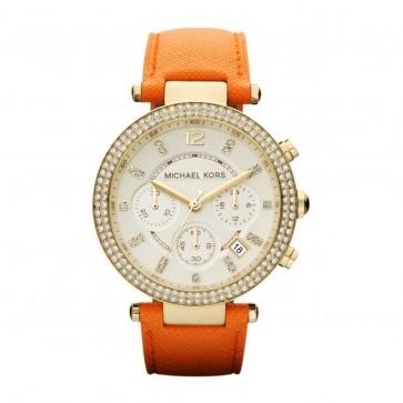 Ladies Michael Kors Parker Ladies  Chronograph Watch Orange Strap MK2279