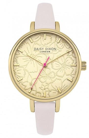 Daisy Dixon Ladies Wrist Watch Gold Dial White Strap DD042G