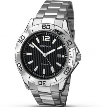 Sekonda Mens Gents Wrist Watch Black Face Silver Strap Black Dial 1171