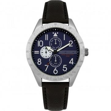 French Connection Mens Blue Multi Dial Quartz Leather Wrist Watch FC1313B