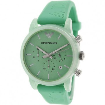Emporio Armani Unisex Chronograph Watch Mint Green Silicone Strap Mint Green Dial AR1057