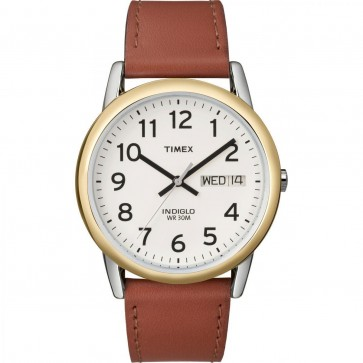 Timex Mens Gents Quartz Wristwatch With White Dial And Brown Leather Strap TW2P82000