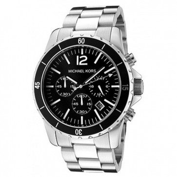 Michael Kors Mens Chronograph Watch Stainless Steel Bracelet Black Dial MK8140