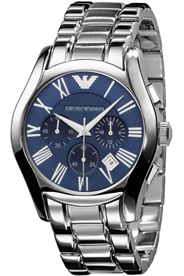 Emporio Armani Mens Chronograph Watch Stainless Steel Bracelet Blue Dial AR1635