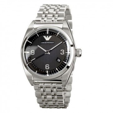 Emporio Armani Mens Watch Stainless Steel Bracelet Black Dial AR0369