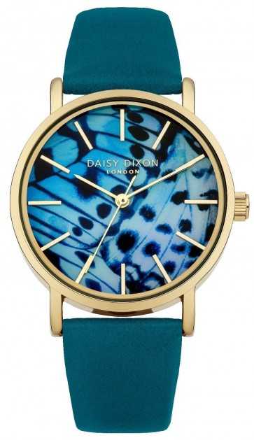 Daisy Dixon Womens Ladies Ella Wrist Watch Blue Strap Gold Face DD021NG