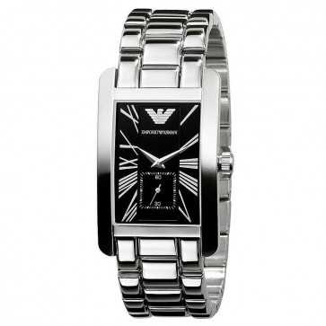 Emporio Armani Mens Gents Watch Black Dial Stainless Steel Bracelet AR0156