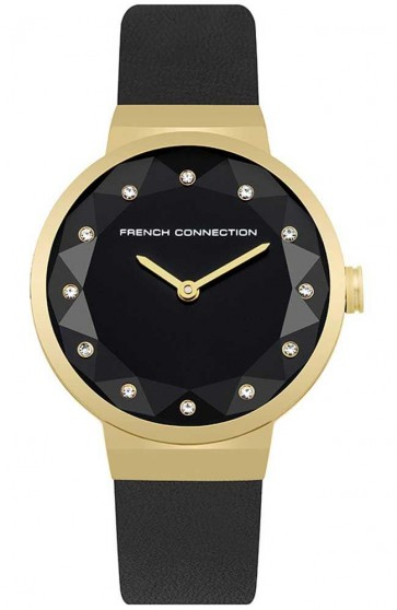 French Connection Ladies Womens Watch Black Leather Strap FC1290BG