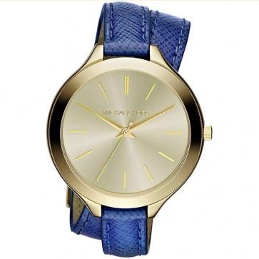 Michael Kors Slim Runway Ladies Watch  Gold Face Blue Leather Strap MK2286