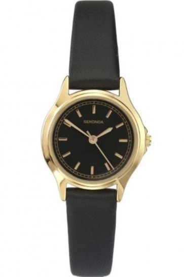 Sekonda Womens Wrist Watch Gold Plated Black Face Faux Leather Strap 4141