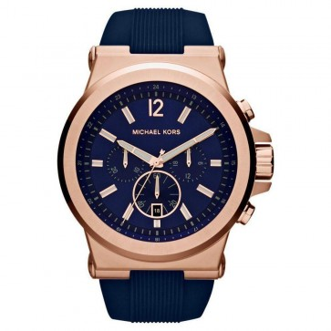 Michael Kors Dylan Chronograph Mens Gents Wrist Watch Blue Silicone Strap Blue Dial MK8295