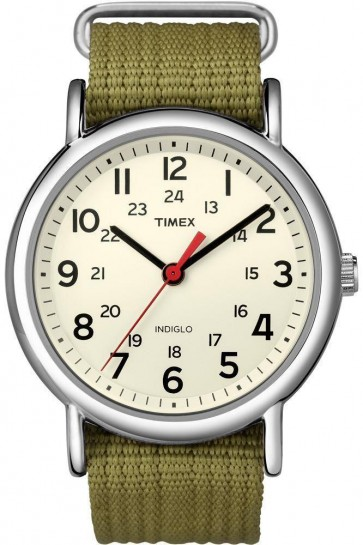 Timex Mens Indiglo Watch Green Nylon Strap Cream Dial T2N651