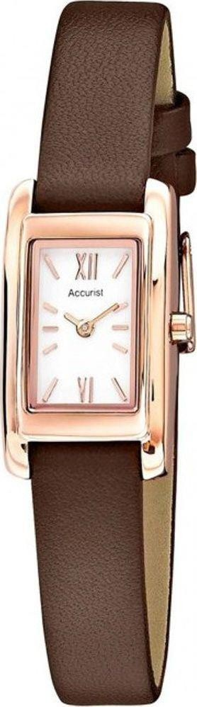 Accurist Ladies Watch Rose Gold Case White Dial Brown Leather Strap LS643