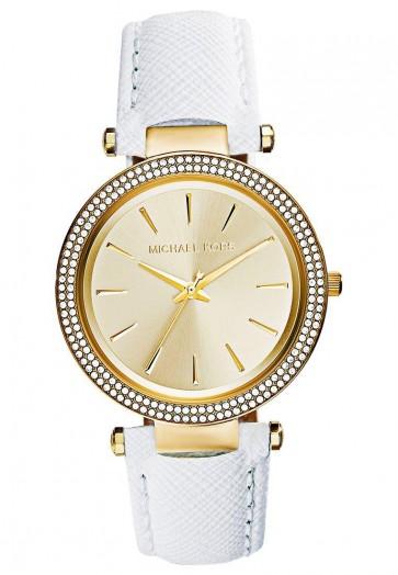 Michael Kors Ladies Darci Watch Gold Dial White Strap Crystal Detail MK2391