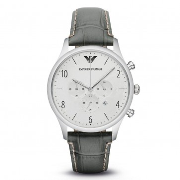 Emporio Armani Mens Gents Chronograph Watch Grey Leather Strap Silver Dial AR1861