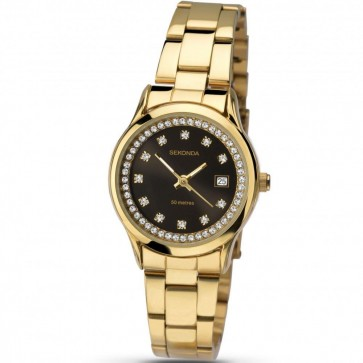 Sekonda Ladies Wrist Watch Black Face Gold Strap Dial 2290