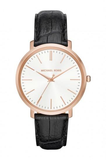 Michael Kors Womens Jaryn Rose Gold Tone Black Leather Wrist Watch MK2472