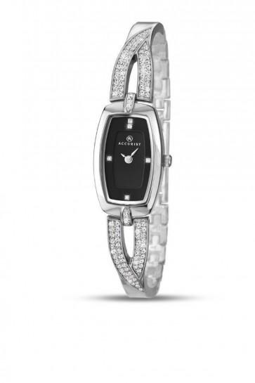 Accurist Ladies London Watch Black Dial Stainless Steel Bracelet 8031