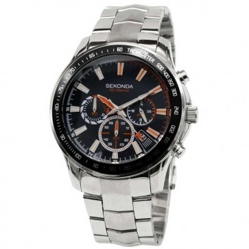 Sekonda Mens Gents Wrist Watch Black Face Metal Strap 3507