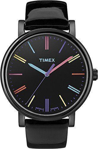 Timex Ladies Indiglo Watch Black Strap Black Dial T2N790