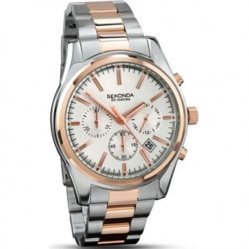 Sekonda Mens Watch White Dial Two Tone Stainless Steel Case and Bracelet SK3486