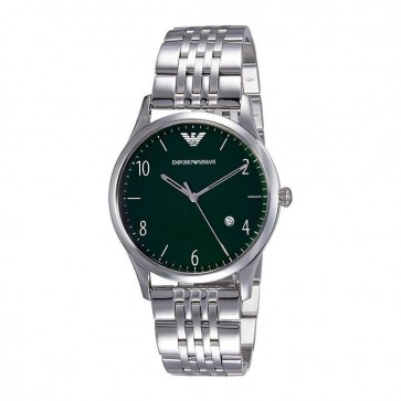 Emporio Armani Mens Gents Watch Silver Stainless Steel Strap Green Dial AR1943