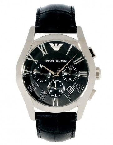 Emporio Armani Mens Chronograph Watch Black Dial Black Leather Strap AR1633