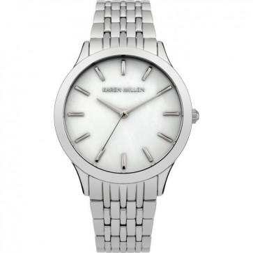 Karen Millen Womens Ladies Quartz Watch Silver Strap White Face KM106SMA