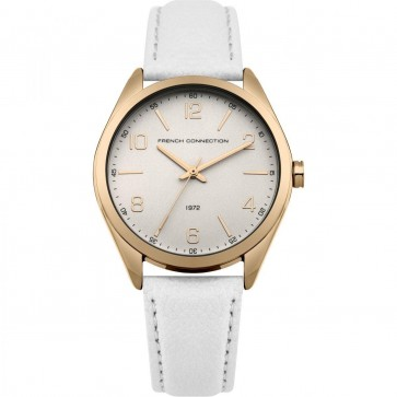 French Connection Womens Watch with Silver Dial Silver Leather Strap FC1304WRG