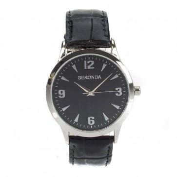 Sekonda Mens Gents Wrist Watch Quartz Black Strap Gift Set 3071G