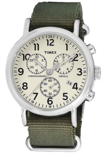 Timex Originals TW2P71400 Weekender Slip Thru Green Chrono Watch