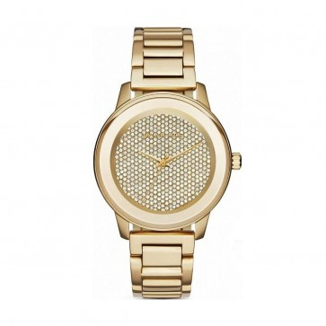 Michael Kors Ladies Watch Gold Bracelet Cyrstal Paved Dial MK6209