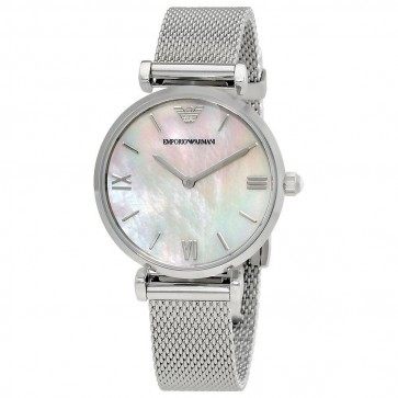 Emporio Armani Ladies Watch Stainless Steel Mesh Strap Silver Dial AR1955