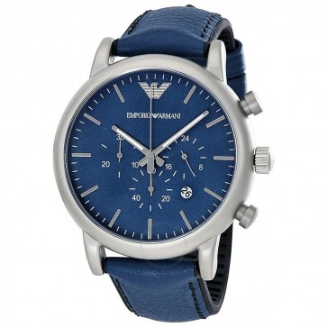 Emporio Armani Mens Gents Watch Blue Leather Strap Face Silver Dial AR1969