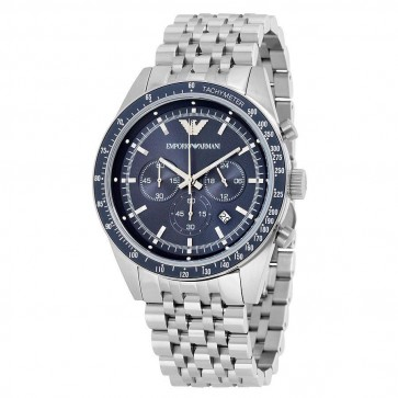Emporio Armani Mens Chronograph Watch Stainless Steel Bracelet Blue Dial AR6072