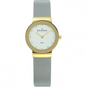 Skagen Ladies PVD Gold Plated Silver Stainless Steel Mesh Watch 358SGSCD