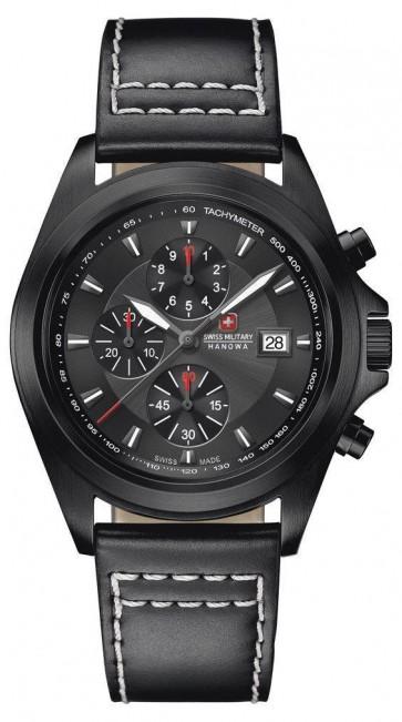 Swiss Military Mens Wrist Watch Black White Silver Dial SM33786AEU