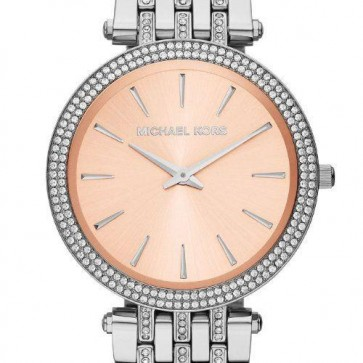 Michael Kors Ladies Darci Watch Pink Dial & Stainless Steel MK3218